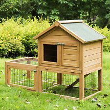 """Deluxe 51"""" Wooden Chicken Coop Hen House Poultry Cage Hutch Nesting Built In Run"""