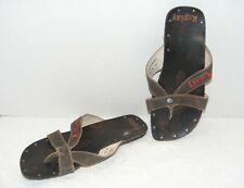 REPLAY FOOTWEAR WOMEN'S BROWN LEATHER FLIP FLOP SANDALS Size EURO 40 US 7