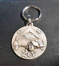 Citroen 2CV rund Schlüsselanhänger Keyring silbern relief - Maße  Emblem ca 38mm