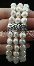 GENUINE TRIPLE STRAND WHITE BAROQUE CULTURED FRESHWATER PEARL BRACELET