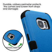 For SAMSUNG Galaxy S7 BLUE BLACK TUFF SKIN Cover STAND CASE + CLEAR SCREEN FILM