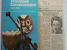 LUCY MAIR.PRIMITIVE GOVERNMENT.REVISED S/B 1970 PELICAN PLUS NEWSPAPER CUT