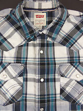 LEVI'S Levi Strauss Blue White Plaid Pearl Snap Western Shirt  Men's sz Large