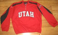 NEW MAJESTIC UTAH UTES WINDBREAKER PULLOVER L JACKET LARGE RED