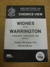 27/08/1978 Rugby League Programme: Widnes v Warrington [Lancashire Cup] . Item a