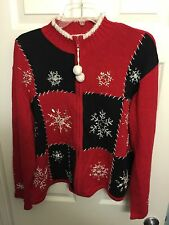 UGLY CHRISTMAS PARTY SWEATER   Partial Zip Women's XL