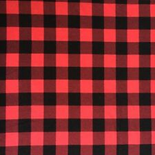 """Red And Black Buffalo Plaid Cotton Spandex Jersey Knit Fabric 1"""" Check"""