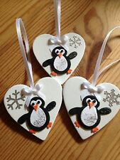 3 X Penguin Christmas Tree Decorations Shabby Chic Real Wood Heart White Bows