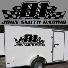 """Personalized Race Trailer Graphic. Racing Trailer Decal 48"""" x 16"""""""