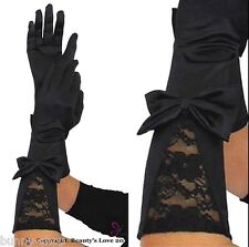 1 Paar Elegante Ellenbogen lange Satin Handschuhe mit Spitze und Schleife BLACK