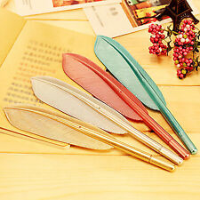 H 5PCS New Cute Wing Feather Ballpoint Ink Pens Creative Stationery Student Gift
