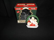 COCA-COLA TRIM A TREE COLLECTION ORNAMENT 1933 SANTA WITH MASK 1990 WITH BOX