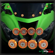 Strada 7 CNC Windscreen Bolts M5 Wellnuts Set Kawasaki Z750S 2006 - 2008 Orange