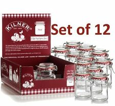 Kilner small jars with clip-top airtight seals - clear, pack of 12, 70 ml