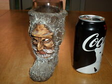 (3-D) TREE TRUNK SHAPED GLASS WITH CARVED OLD MAN FACE, RESIN GLASS DRINKING CUP