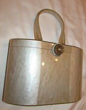 50's WILARDY marbelized lucite bakelite gray box style fancy filigree purse bag