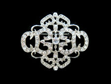 Vintage Inspired Rhinestone Crystal Art Deco Brooch Wedding Party