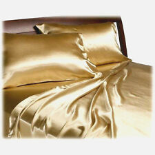 New Soft Silk~Y Satin Lingerie Bed Sheets + Pillowcases Set FULL SIZE - GOLD