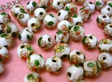 SALE~20 Hand Paint Floral 8mm Bead/Gold Flower Trim/Beading/DIY Craft Q12-White