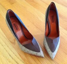 Missoni gray multi 7 37 ostrich colorblock pointy platform pump shoe NEW $825