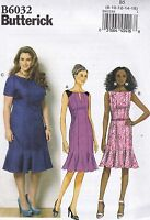 Easy Butterick Sewing Pattern Misses'/Women's Fitted Dress Sizes 8 - 24W B6032