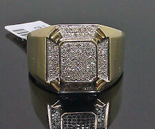 10K Men's Yellow Gold Thick Band Ring With 0.30CT Diamond/ Band, Pinky Ring