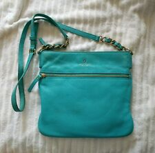 KATE SPADE Tiffany Blue LEATHER Double ZIP Crossbody Cobble Hill TENLEY Bag