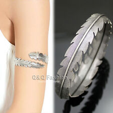 "Silver Indian Zuni Leaf Feather 3"" Arm Cuff Armlet Armband Bangle Bracelet"