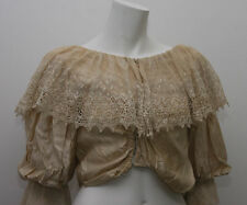 ANTIQUE VICTORIAN CREAM SILK LADIES BLOUSE WITH LACE COLLAR (4524)