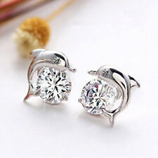 Elegant Crystal Eye Dolphin Stud Earrings Women's Sterling Silver Gift