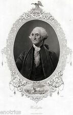 George Washington: 1° Presidente Stati Uniti d'America. Steel Engraving. 1850