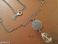SILPADA OXIDIZED SS COIN EMBELLISHMENTS NECKLACE W/ CRYSTAL PENDANT N1713