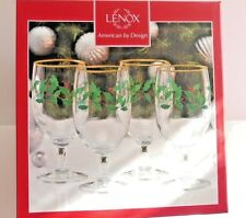 NIB Lenox Holiday Glass Iced Beverage Water Goblets, set of 4