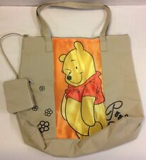 DISNEY WINNE THE POOH TOTE SHOULDER BAG WITH COIN PURSE LARGE BEACH TAN