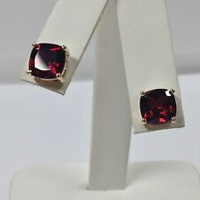 Natural Garnet Stud Earrings Solid 14kt Yellow Gold