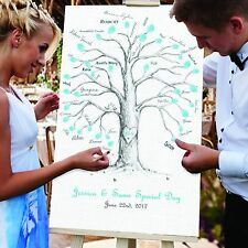 Personalised wedding guest finger print tree Canvas