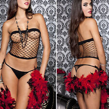 2PC Black Bandeau Diamond Fence Net Tube Top Shirt w/ G-string Punk Rock Gothic