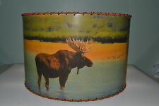 "Moose, Bear, Deer Lamp Shade 14"" x 14"" Drum, Rustic Cabin Decor"