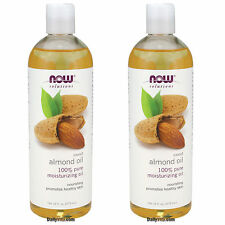 2 x NOW FOODS 100% Pure Sweet Almond Oil 16 Oz, Pure Moisturizing Oil, FRESH