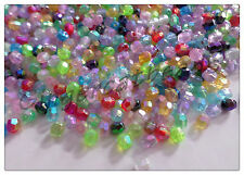 500 x AB Plated Acrylic Beads - Faceted Round - 4mm - Mixed Colour