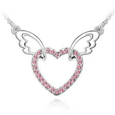 SILVER RED HEART WINGS Necklace  WITH CRYSTALS LADIES GIFT LOVE WIFE GIRLFRIEND