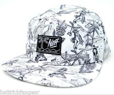 NEFF HEADWEAR HULA 5 PANEL CAMPER HAT/CAP - WHITE/BLACK - OSFM