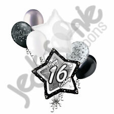 7 pc 16th Elegant Star Happy Birthday Balloon Bouquet Decoration Black & White
