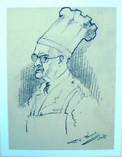 MILITARY PORTRAIT WWII CAPT T. GRAY CATERING OFFICER  PENCIL ROBERT LYON C1941