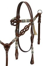Infinity Knot Browband Leather Headstall Reins & Breast Collar Set Horse Tack