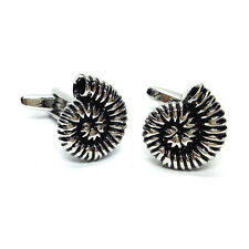 Detailed Fossilied Ammonite CUFFLINKS Fossil Collector Hunter Present GIFT BOX