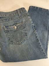 RUE 21 Jean Capri BLING Size 13/14 - FLAWED Holes Between Legs SEE PICS