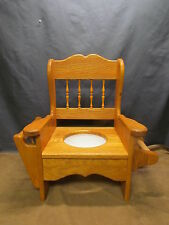 Solid Oak Wood! Child's Training Potty Chair W/ Lid &Toilet Paper Holder Amish