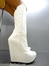 MORI ITALY WEDGES HEELS KNEE HIGH BOOTS STIEFEL STIVALI LEATHER WHITE BIANCO 38