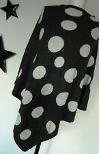 D&F Italy edler Poncho Umhang 36-42 grau weiß Punkte Polka Dots  Cashmere Wolle